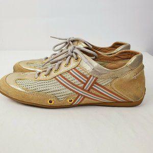 Stuart Weitzman Gold Leather & Suede Sneakers 6.5